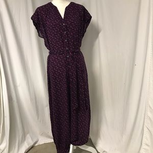 Anthropologie Maeve Purple Navy Harem Jumpsuit S